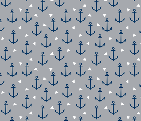 Anchor nautical baby nursery grey and navy blue anchor for Nautical nursery fabric