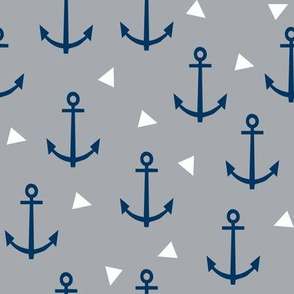 anchor nautical baby nursery grey and navy blue anchor fabric