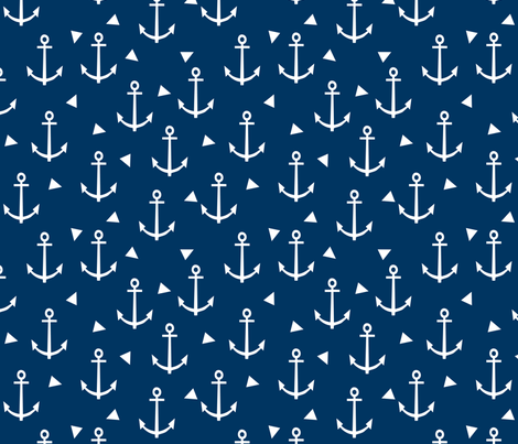nautical anchors navy and white fabric classic ocean nautical fabrics fabric by charlottewinter on Spoonflower - custom fabric