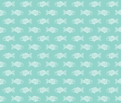mint fish fish fabric mint fabric fish nautical ocean fabric by charlottewinter on Spoonflower - custom fabric