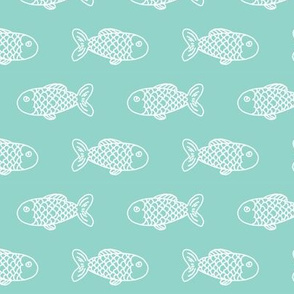 mint fish fish fabric mint fabric fish nautical ocean