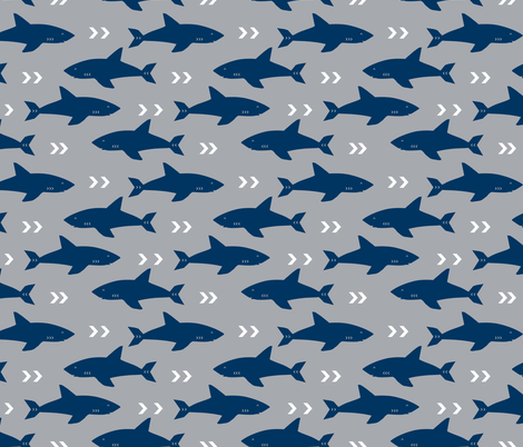 shark navy and grey fabric fish sharks navy fabric fabric by charlottewinter on Spoonflower - custom fabric