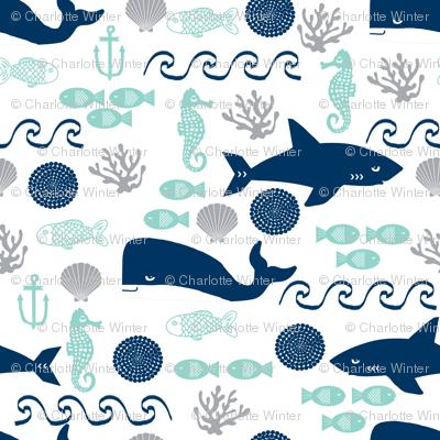 nautical fish and sharks fabric nautical ocean animals shark whale fabric