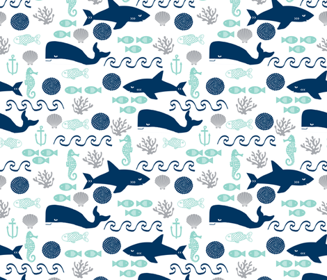 nautical fish and sharks fabric nautical ocean animals shark whale fabric fabric by charlottewinter on Spoonflower - custom fabric