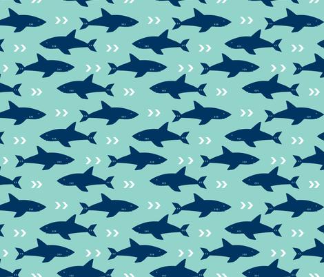 shark navy and mint sharks fabric ocean nautical fabric fabric by charlottewinter on Spoonflower - custom fabric