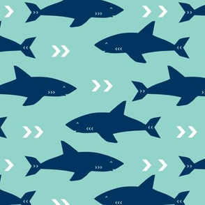 shark navy and mint sharks fabric ocean nautical fabric