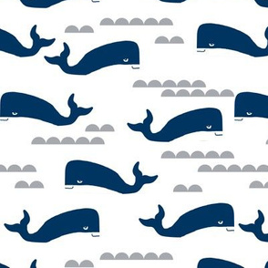 ocean navy blue fabric whales nautical ocean fabrics