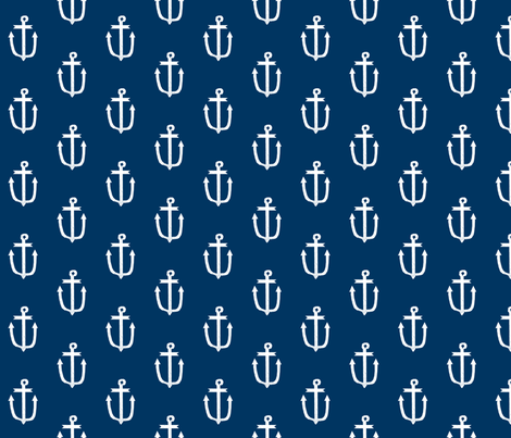 anchor fabric navy blue and white anchors navy blue fabric  fabric by charlottewinter on Spoonflower - custom fabric