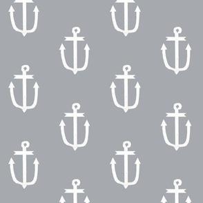 classic grey anchors nautical fabric ocean fabric anchors