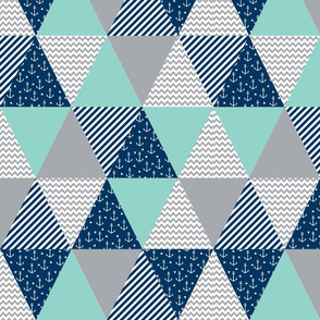 triangle quilt baby fabric cute baby cheater quilt crib sheet baby blanket baby nursery mint navy blue and grey