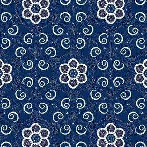 Floral Spiral Dots (bandana) large