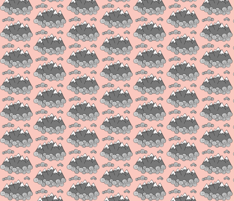Mountains // Pink background fabric by howjoyful on Spoonflower - custom fabric
