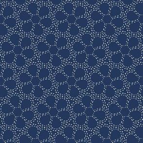Stitched Flowers (sashiko) Indigo