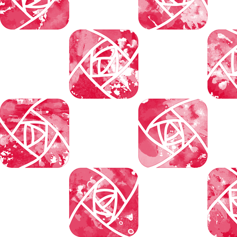 Craftsmen Square Roses Check White Red fabric by wickedrefined on Spoonflower - custom fabric
