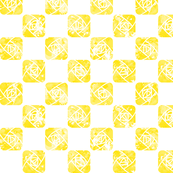 Craftsmen Square Roses Checker White Yellow