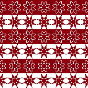 Fill A Yard Feathered Star Quilt Block 6in Red White