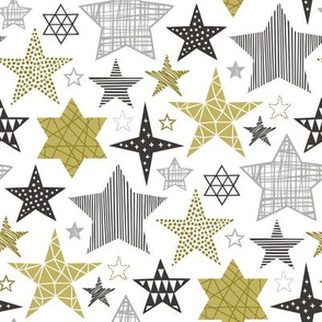 Stars Geometric Winter Fall Holiday Christmas Black & White Gold
