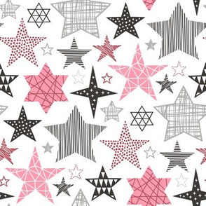 Stars Geometric Winter Fall Holiday Christmas Black & White Pink