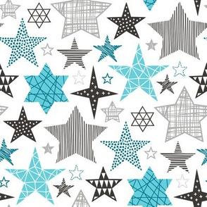 Stars Geometric Winter Fall Holiday Christmas Black & White Aqua Blue