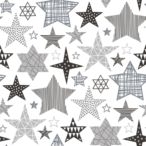 Stars Geometric Winter Fall Holiday Christmas Black & White Grey fabric by caja_design on Spoonflower - custom fabric