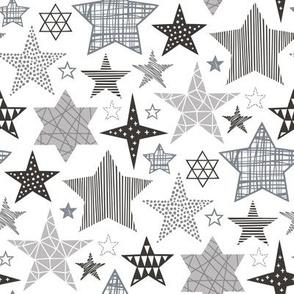 Stars Geometric Winter Fall Holiday Christmas Black & White Grey