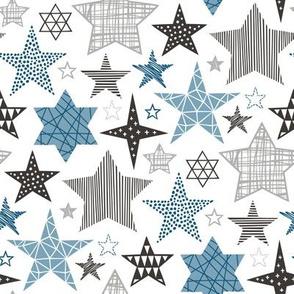 Stars Geometric Winter Fall Holiday Christmas Black & White Blue Navy