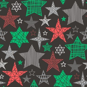 Stars Geometric Holiday Winter Fall Christmas Red Green on Black