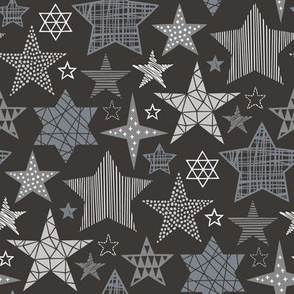 Stars Geometric Winter Fall Holiday Christmas White Grey on Black