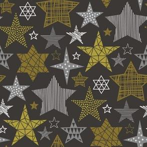 Stars Geometric Winter Fall Holiday Christmas Gold on Black