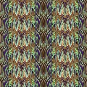 Tearful Ogre Bargello, brown, tan, purple and green, small