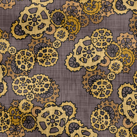 Steampunk Gears Brass & Copper fabric by pond_ripple on Spoonflower - custom fabric