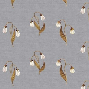 Lilly in Bronze on Linen Darker Silver Grey