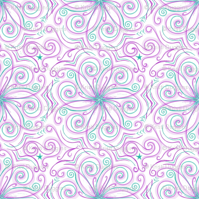 Project 37 |   Floral | Purple Teal on White