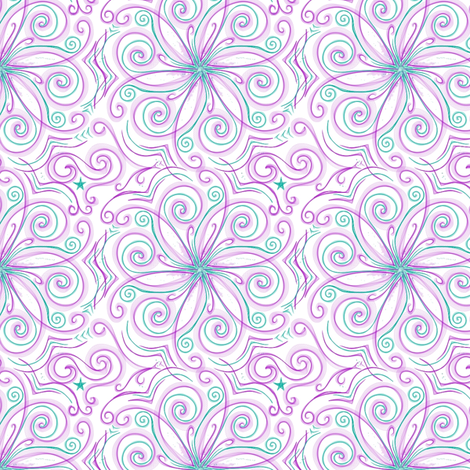 Project 37 |   Floral | Purple Teal on White fabric by bohobear on Spoonflower - custom fabric