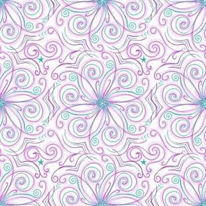 Project 37 | Zentangle Floral | Purple Teal on White