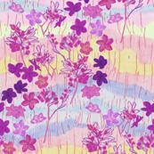Violet Plumeria Crayon Art on Pastel Colors