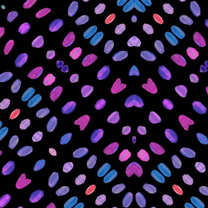 Watercolor abstract, Painted Tribal Abstract in purple, blue and pink