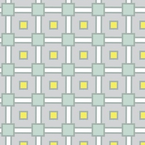Modern Geometric Squares|| Gray Grey Lemon Yellow Celadon Green Seafoam Blue  _Miss Chiff Designs