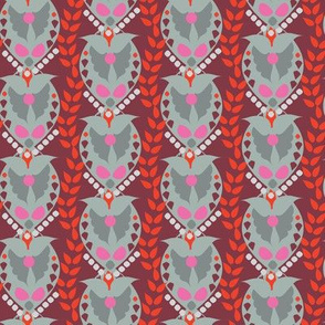 Valentine Paisley Damask || Heart Wings Love  Gray grey Red Maroon Pink _ Miss Chiff Designs