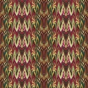 Tearful Ogre Bargello, Burgundy, Green and Yellow