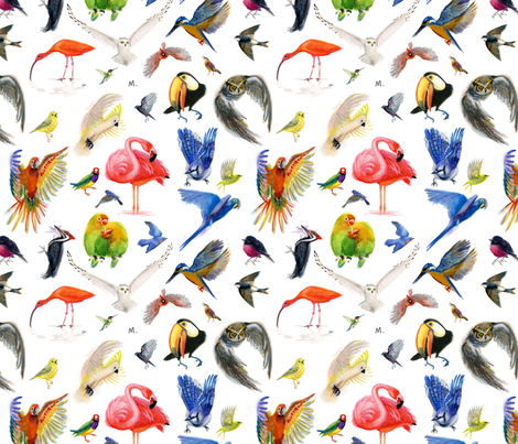 Rainbow Birds fabric by atlanticmoira on Spoonflower - custom fabric
