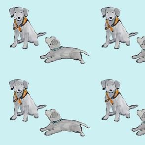 Lab_puppies_Aqua_Mono_Print