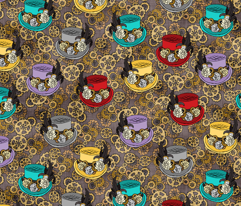 Colorful Steam Punk Tophats fabric by pond_ripple on Spoonflower - custom fabric