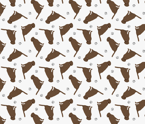 Tiny Chocolate Labrador Retrievers - gray fabric by rusticcorgi on Spoonflower - custom fabric