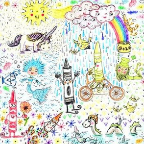 Aug2016Crayons, Happy Crayon Land, white rainbow colorful