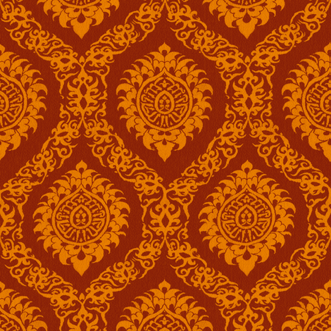 Red Orange Ogee fabric by wanderingaloud on Spoonflower - custom fabric