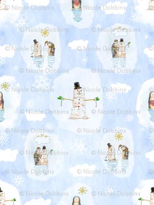 Penguin Building Snowman Mixed Media Watercolor