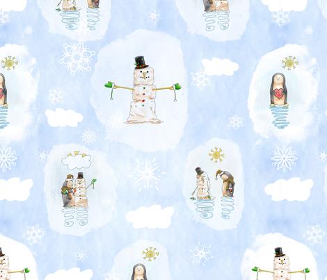 Penguin Building Snowman Mixed Media Watercolor fabric by nicoledobbins on Spoonflower - custom fabric