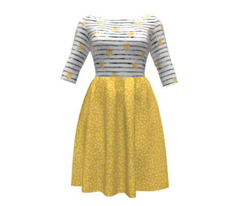 Polka dots in white on yellow - MEDIUM