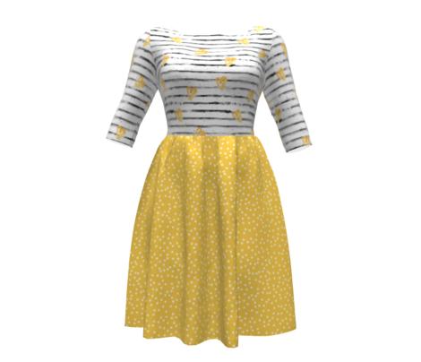 Polka dots in white on yellow - MEDIUM